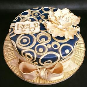 Navy Blue Cream Open Rose Cake
