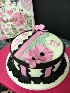 Pink & Black Flower Cake